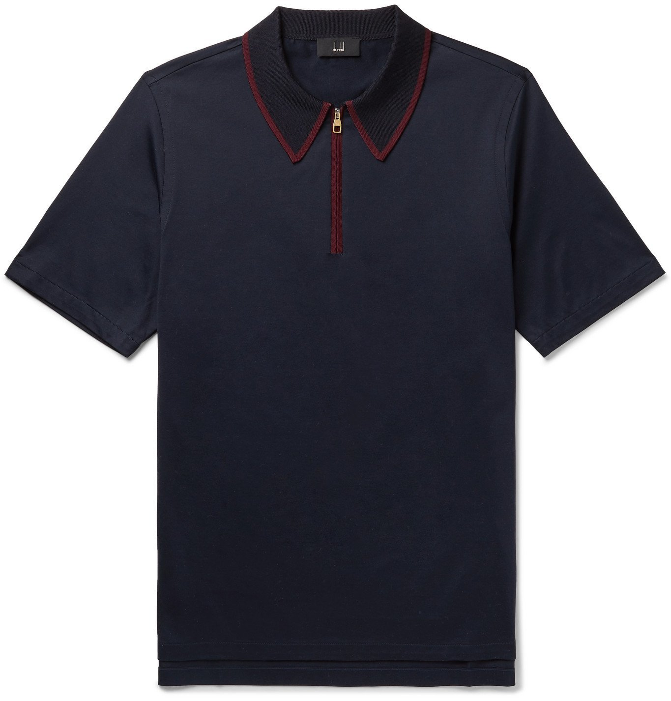 Dunhill - Contrast-Tipped Cotton-Jersey Polo Shirt - Blue