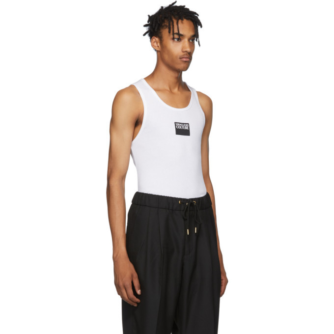 Versace Jeans Couture White Logo Tank Top