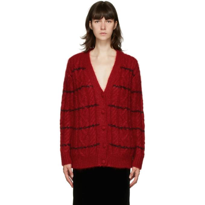 Photo: Saint Laurent Red Mohair Cable Knit Cardigan