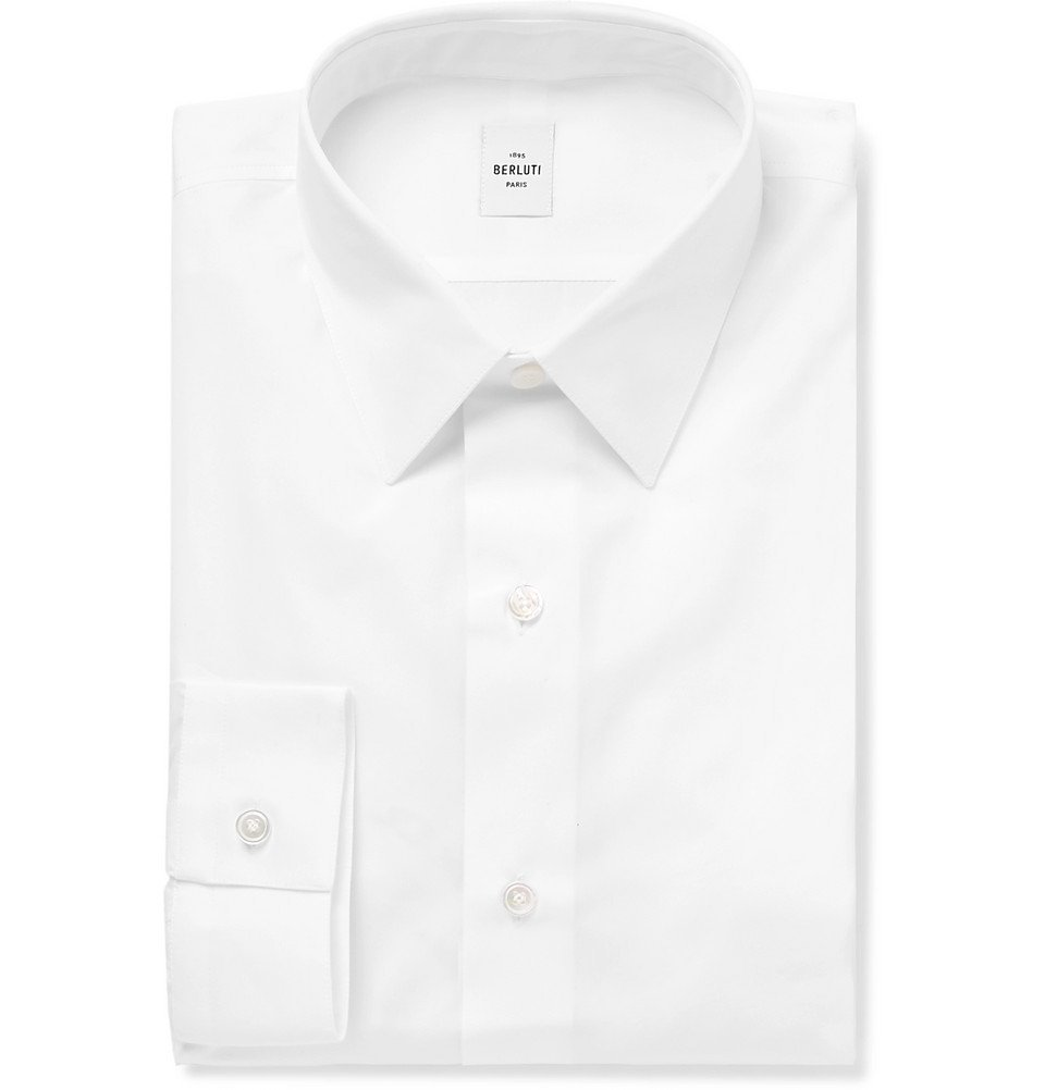 Photo: Berluti - White Slim-Fit Cotton-Poplin Shirt - White