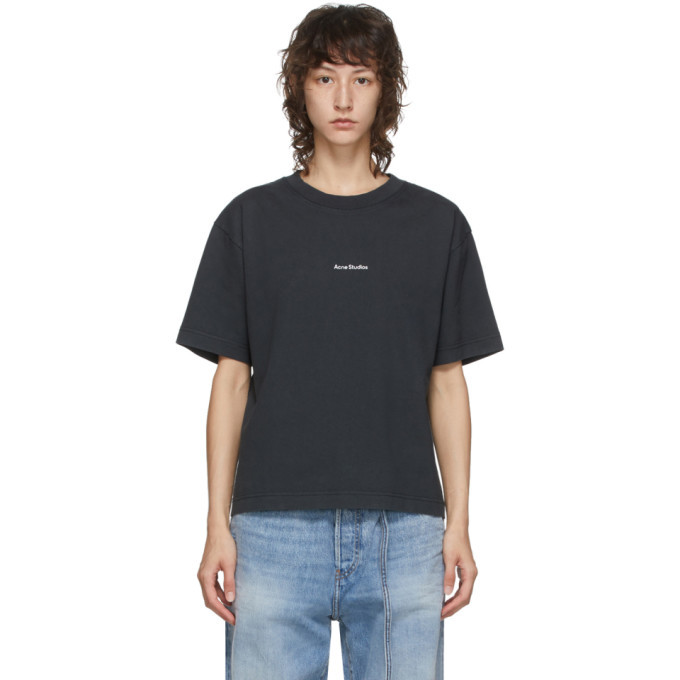Photo: Acne Studios Black Logo Print T-Shirt