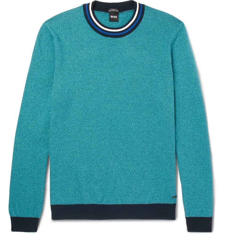 Photo: Hugo Boss - Talvino Slim-Fit Stripe-Trimmed Cotton Sweater - Turquoise