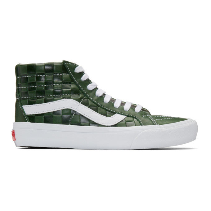 Photo: Vans Green Leather Check Reissue VI Sk8-Hi Sneakers