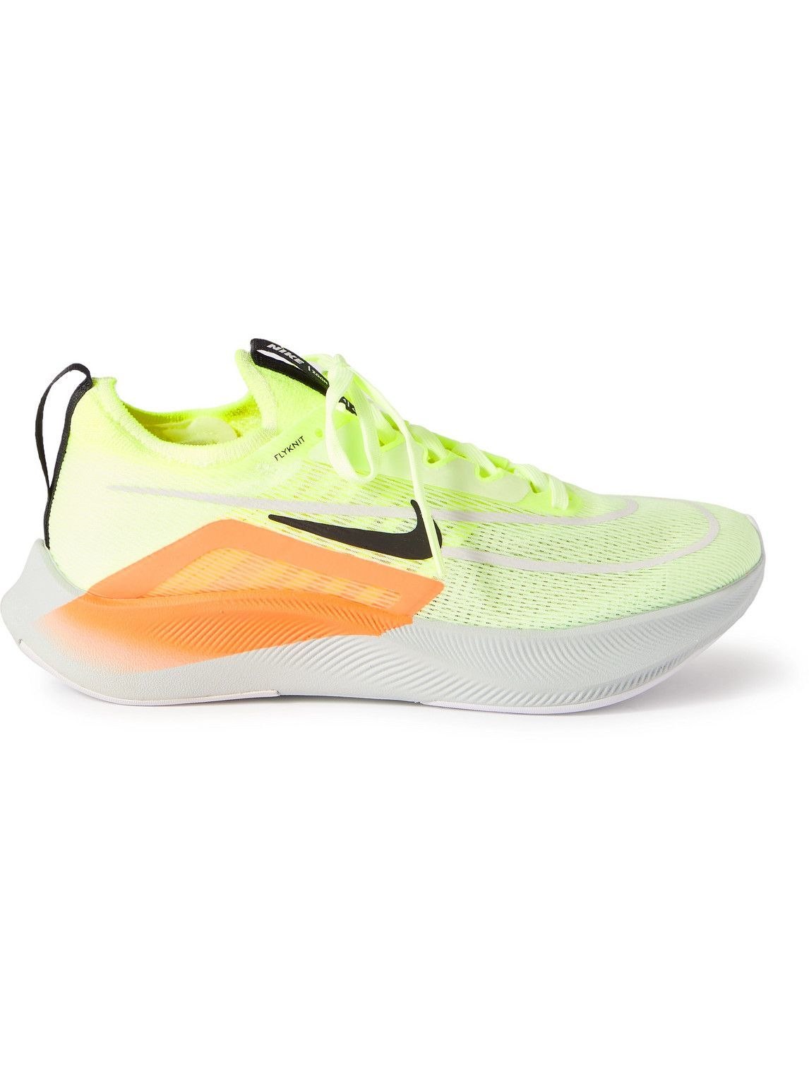 Photo: Nike Running - Zoom Fly 4 Rubber-Trimmed Mesh Sneakers - Yellow
