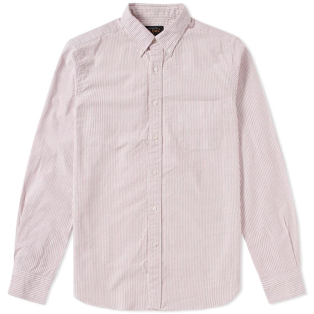 Photo: Beams Plus Button Down Candy Stripe Shirt White