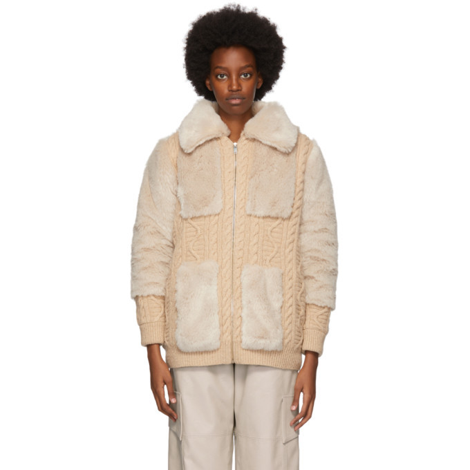 Stella McCartney Beige Faux Fur Zip Up Sweater