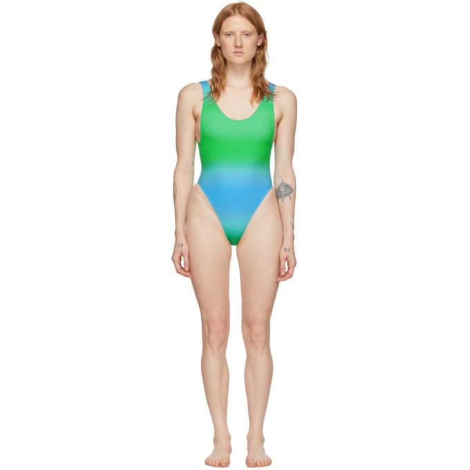 Photo: Jacquemus Blue and Green Le Maillot Camerio One-Piece Swimsuit
