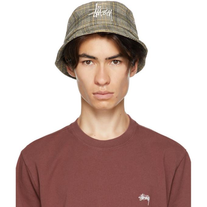 Photo: Stussy Off-White Plaid Big Logo Bucket Hat