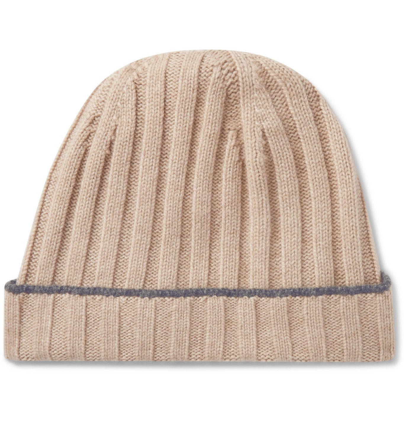 Photo: Brunello Cucinelli - Contrast-Tipped Ribbed Cashmere Beanie - Neutrals
