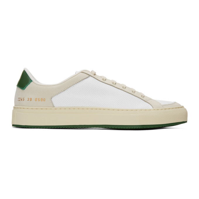Common Projects White and Green Retro 70s Low Sneakers