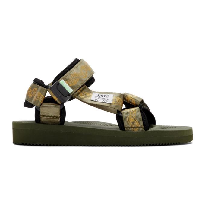 Aries Green Suicoke Edition Depa Cab Sandals