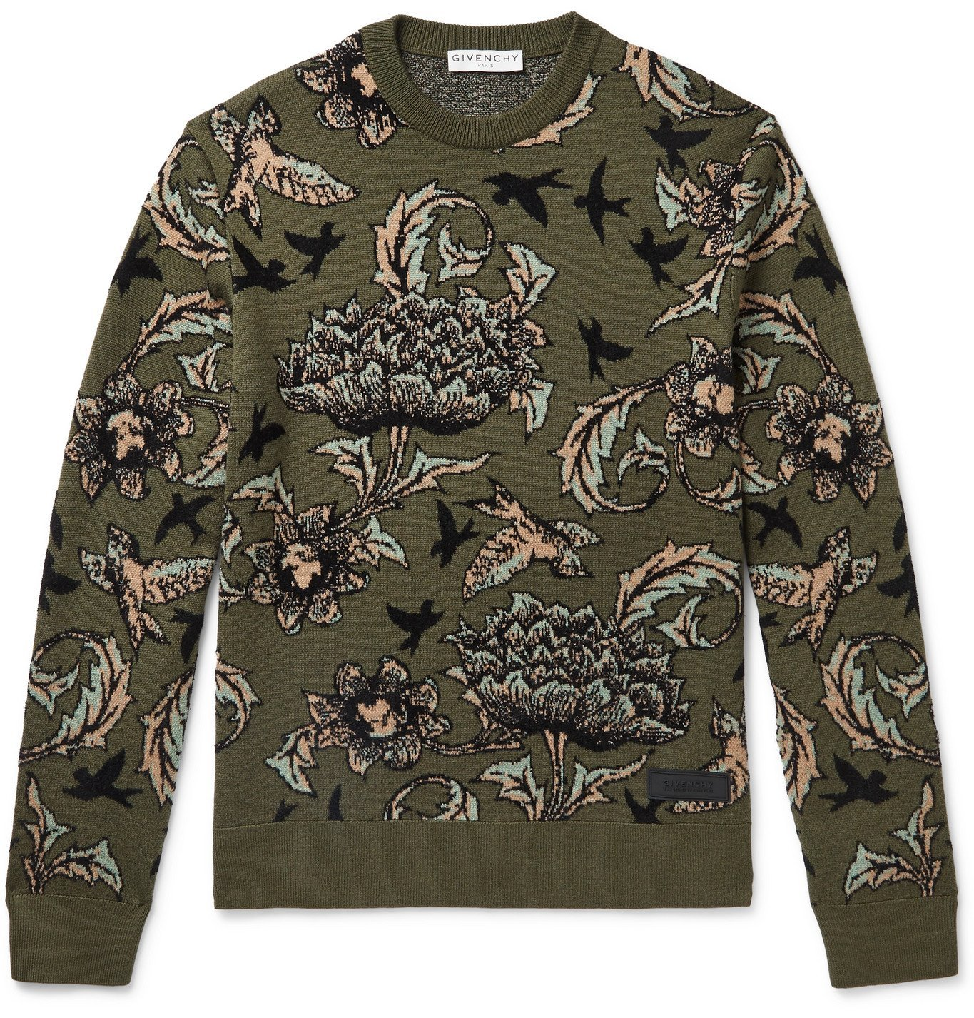 Photo: Givenchy - Logo-Appliquéd Intarsia Wool-Blend Sweater - Green
