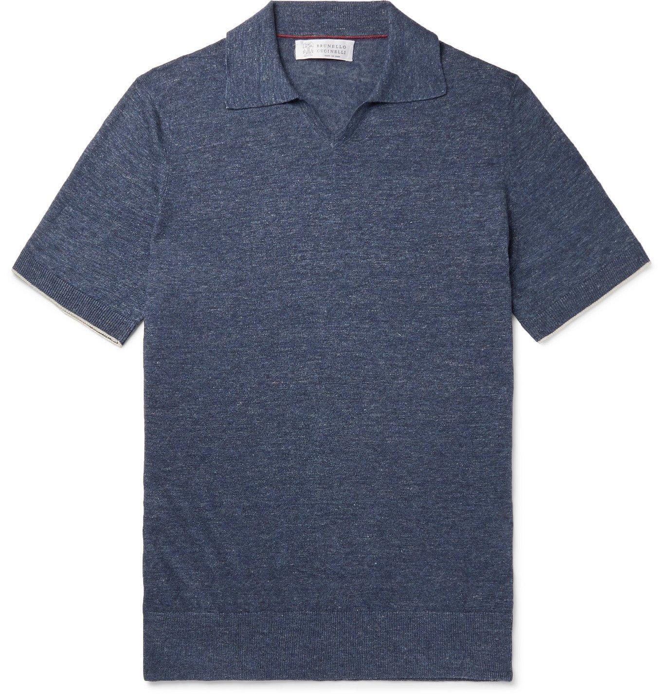 Photo: Brunello Cucinelli - Mélange Linen and Cotton-Blend Polo Shirt - Blue