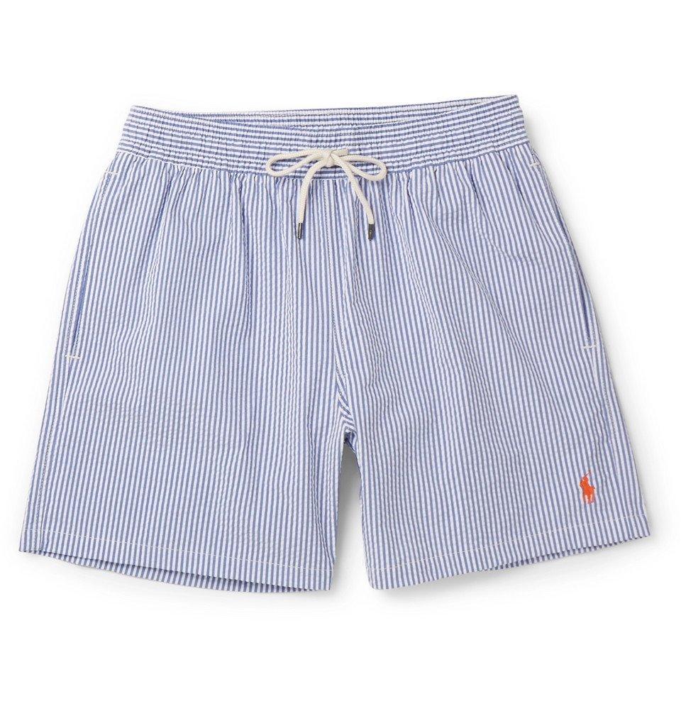 Photo: Polo Ralph Lauren - Mid-Length Striped Cotton-Blend Seersucker Swim Shorts - Men - Blue