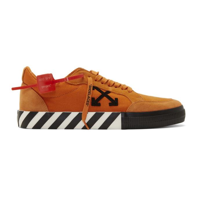 White Orange Vulcanized Low Sneakers
