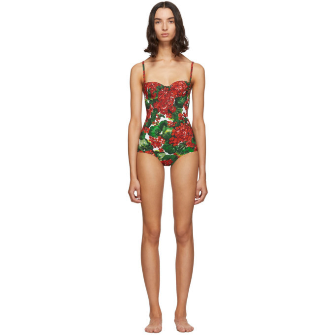 Photo: Dolce and Gabbana Red and Green Portofino Balconette One-Piece Swimsuit