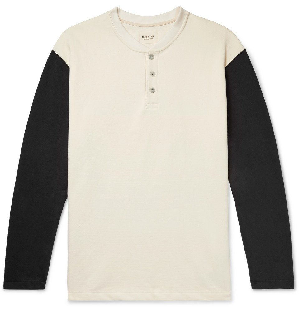 Photo: Fear of God - Oversized Colour-Block Loopback Cotton-Jersey Henley T-Shirt - Cream