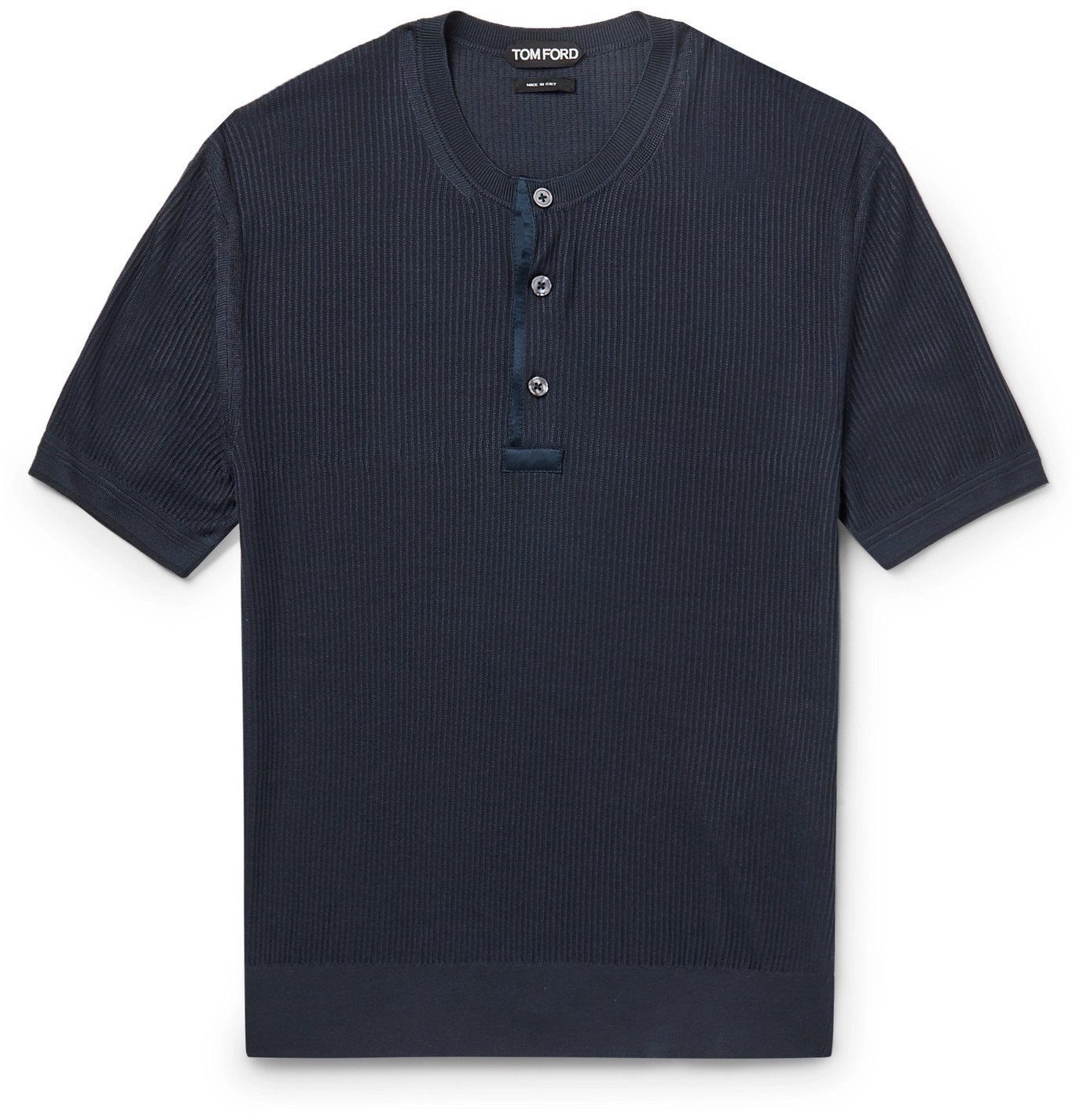 TOM FORD - Satin-Trimmed Ribbed Silk Henley T-Shirt - Blue