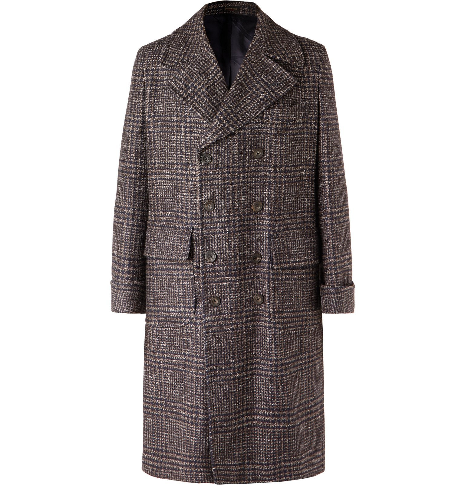 Photo: Rubinacci - Double-Breasted Houndstooth Virgin Wool, Linen and Cashmere-Blend Overcoat - Brown