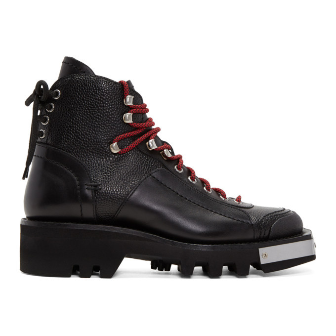 Photo: Dsquared2 Black Lace-Up Hiker Boots