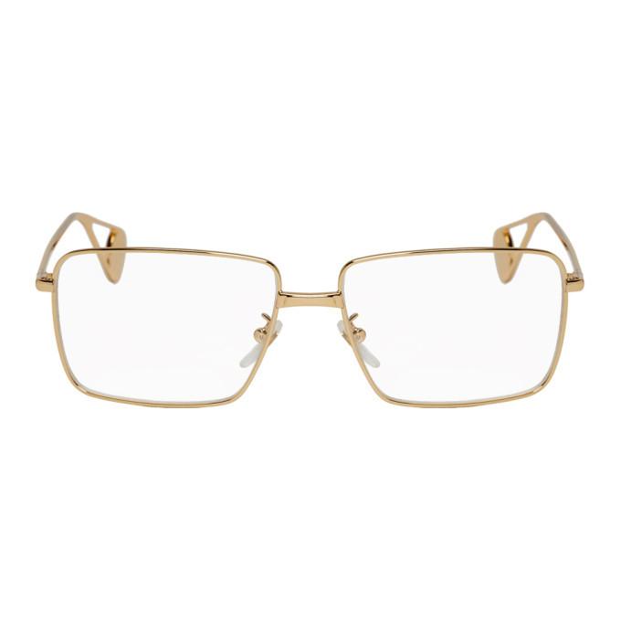 Photo: Gucci Gold Rectangular Glasses