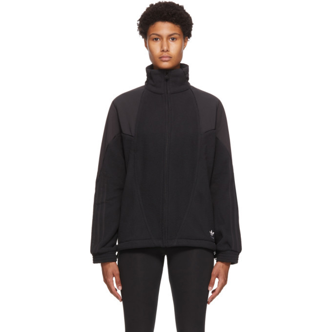 adidas Originals Black Sherpa Big Trefoil Track Jacket