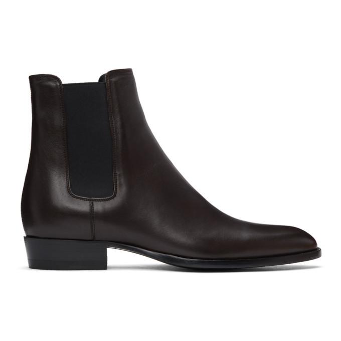 Photo: Saint Laurent Brown Wyatt Chelsea Boots
