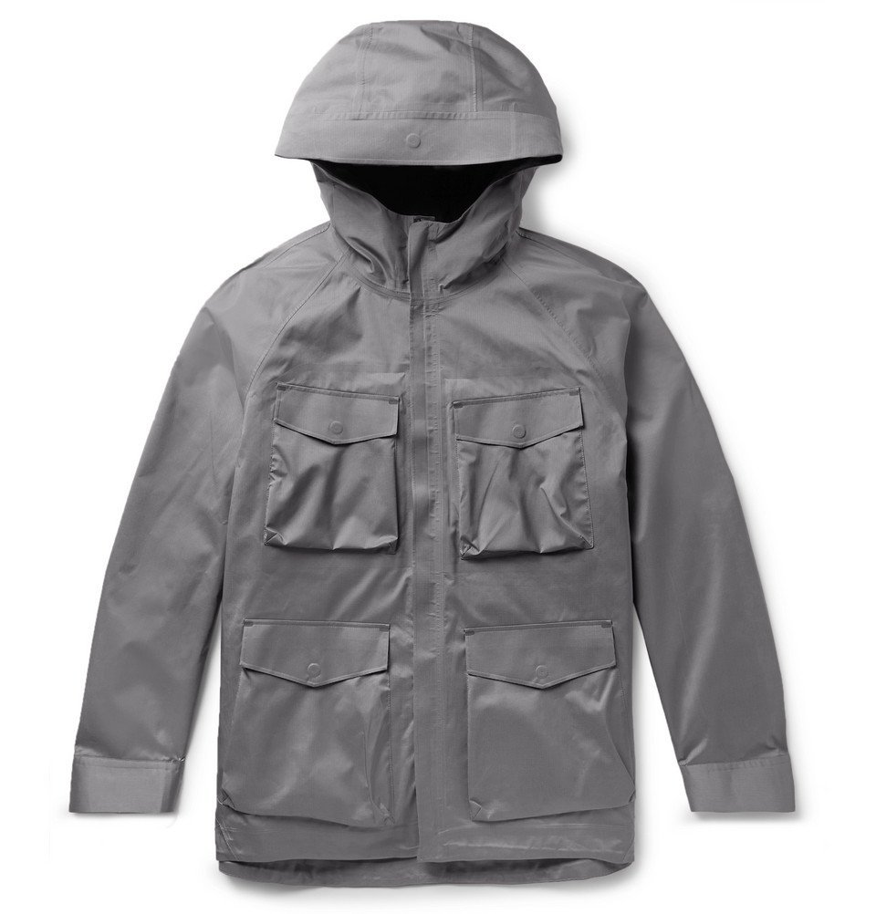 Photo: Theory - Checked Shell Hooded Jacket with Detachable Gilet - Gray