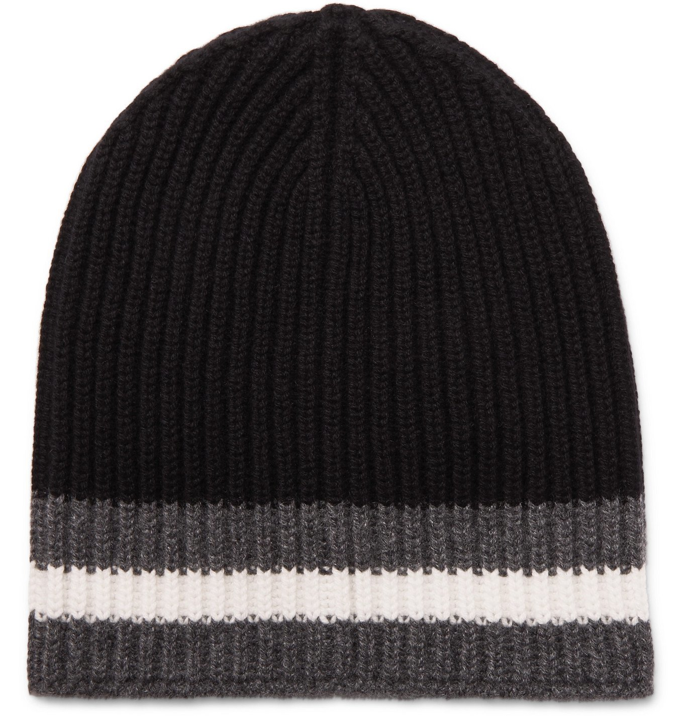 Photo: Dolce & Gabbana - Ribbed Striped Cashmere Beanie - Black