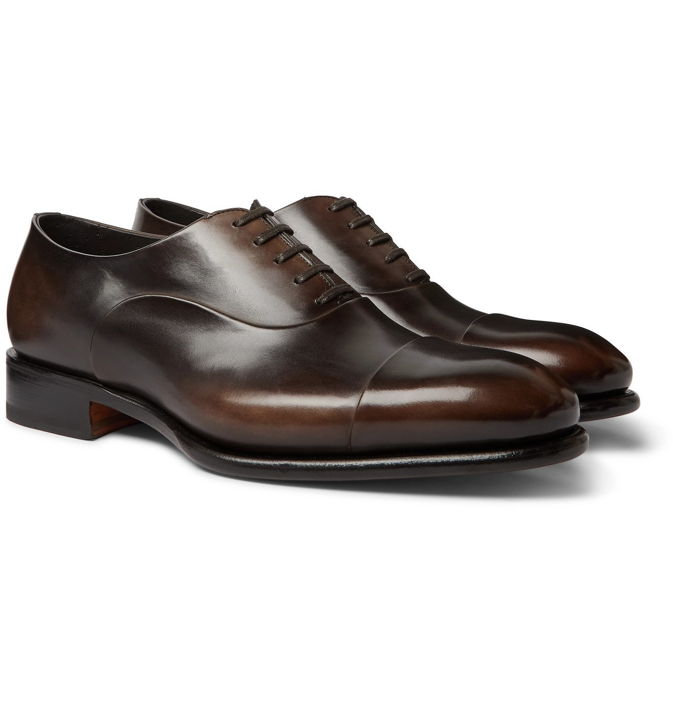 Photo: Santoni - Polished-Leather Oxford Shoes - Brown