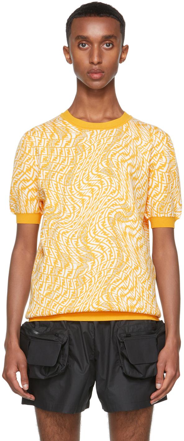 Photo: Fendi Yellow Knit FF Vertigo T-Shirt