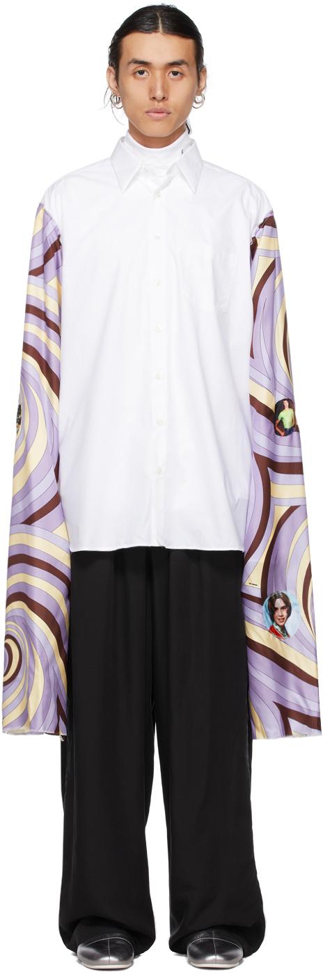 Photo: Raf Simons White & Purple Extended Sleeves Box Shirt