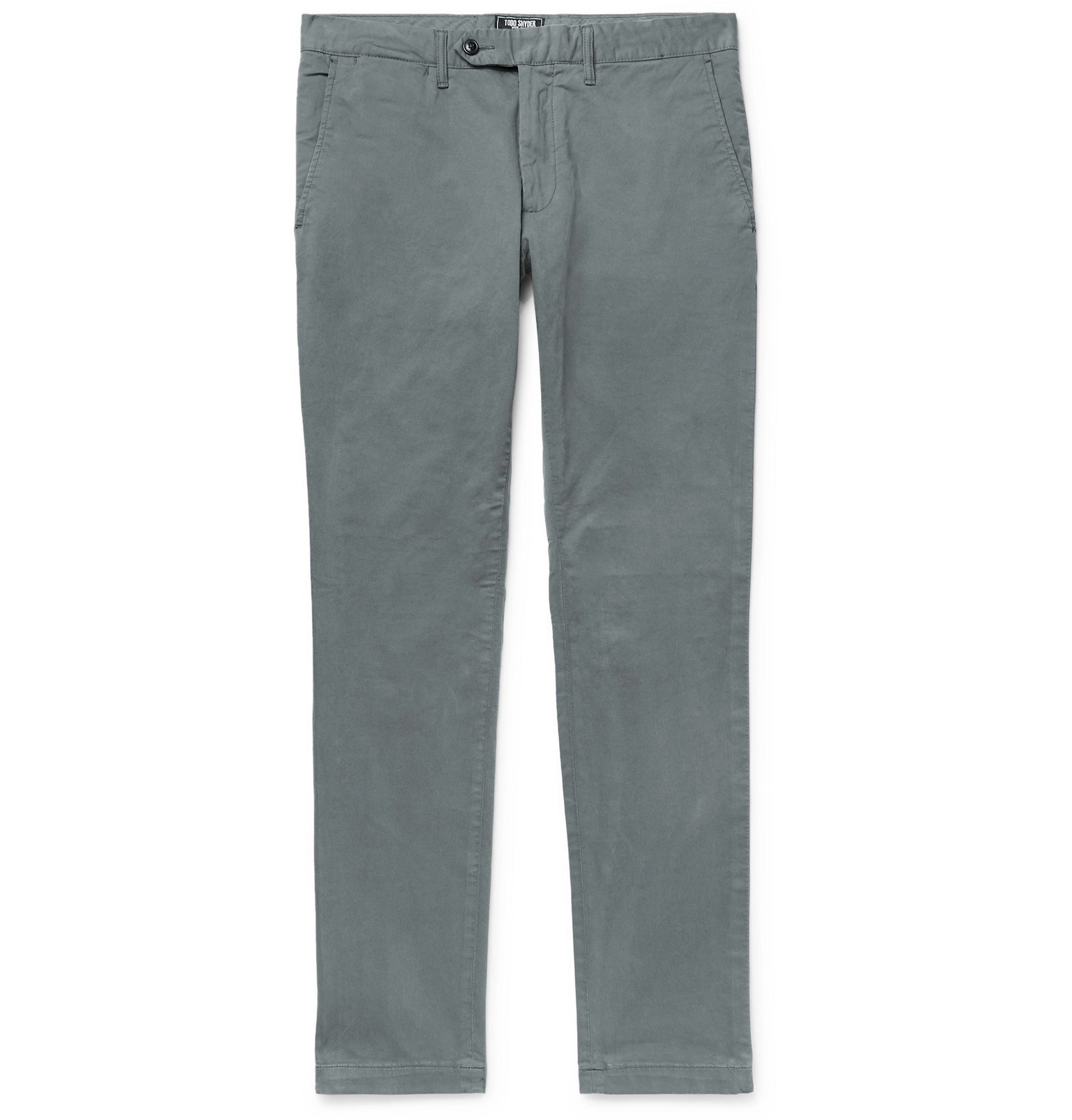 Photo: Todd Snyder - Charcoal Slim-Fit Stretch-Cotton Twill Chinos - Gray