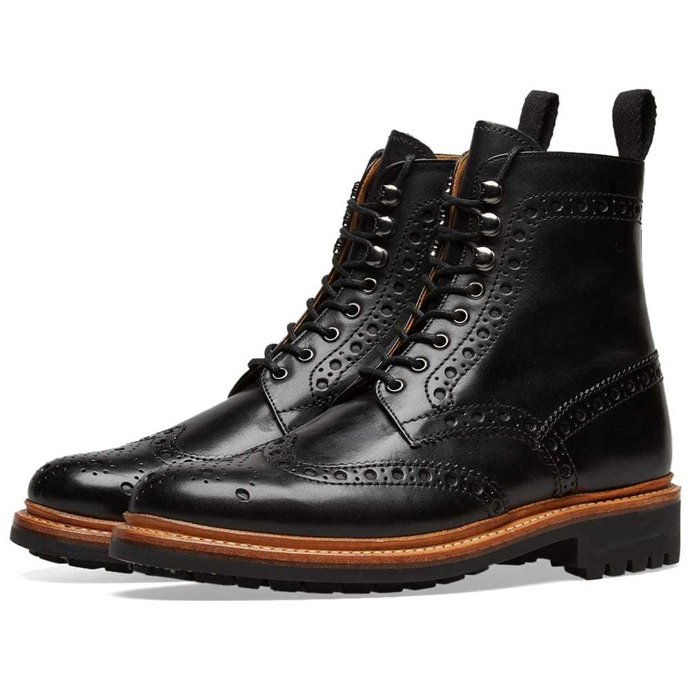 Photo: Grenson Fred Commando Sole Brogue Boot Black Hand Painted