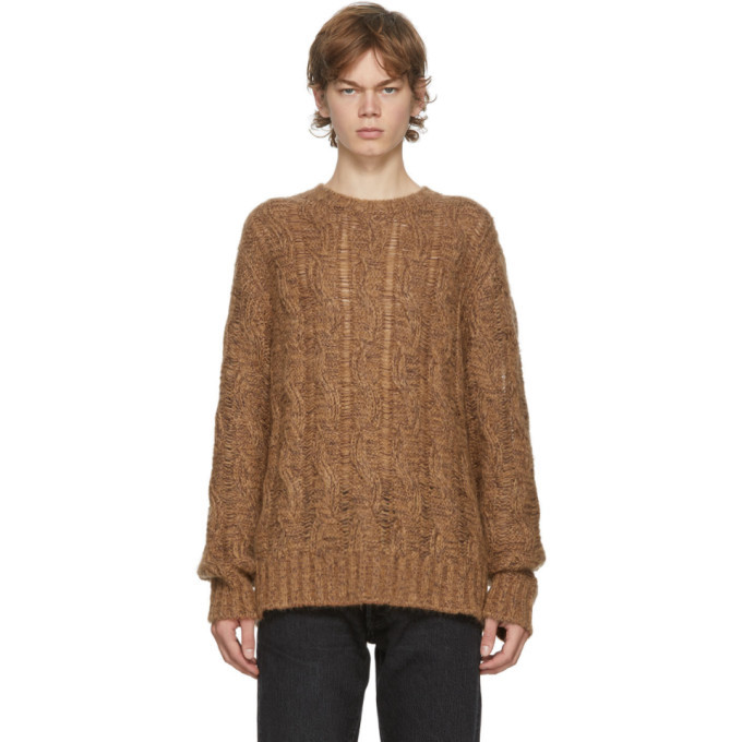 Photo: Acne Studios Brown and Burgundy Cable Knit Sweater
