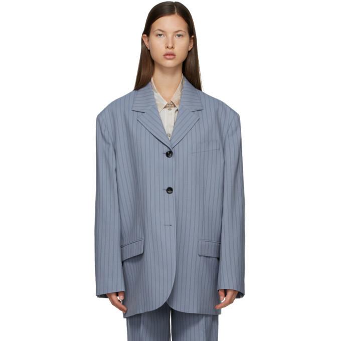 Photo: Acne Studios Blue and Navy Wool Pinstripe Suit Blazer