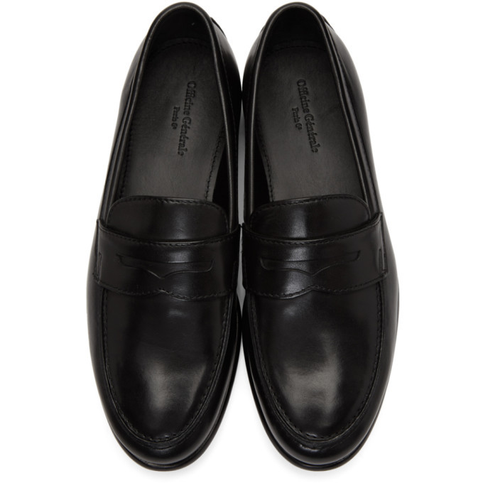 Officine Generale Black Mika Penny Loafers