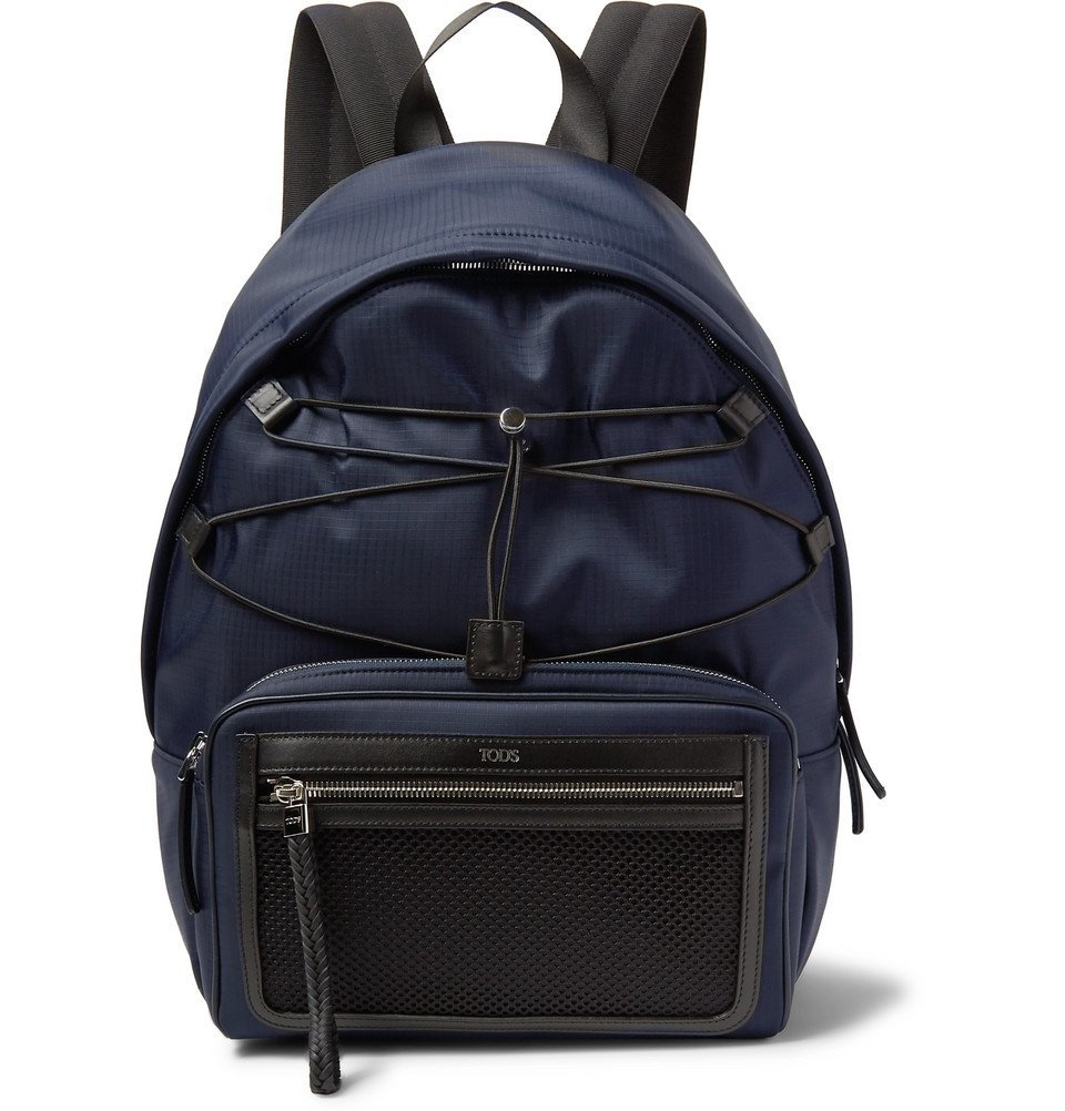 Photo: Tod's - Leather and Mesh-Trimmed Ripstop Backpack - Men - Midnight blue