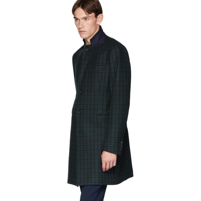 PS by Paul Smith Green and Navy Tartan Check Wool Epsom Coat