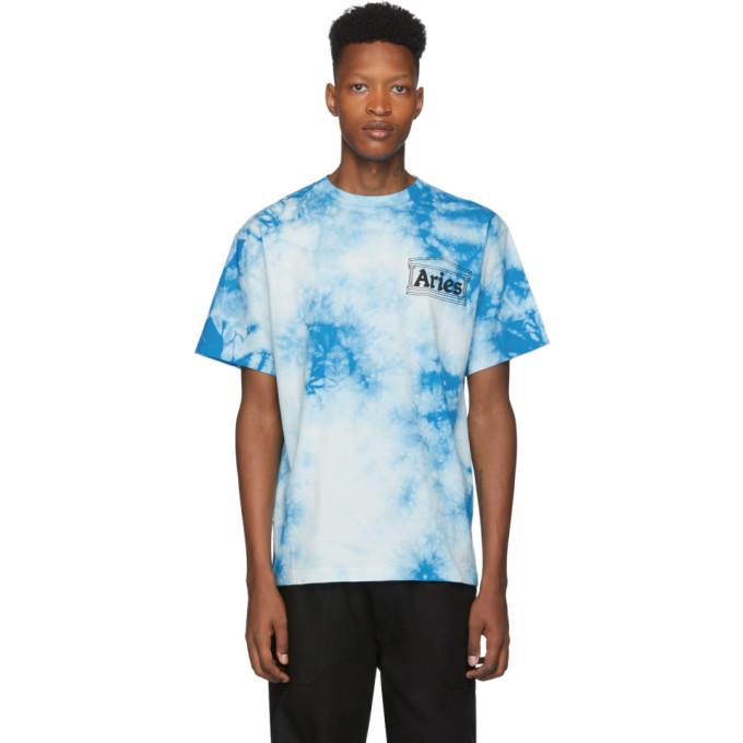 Aries Blue Tie-Dye Temple T-Shirt