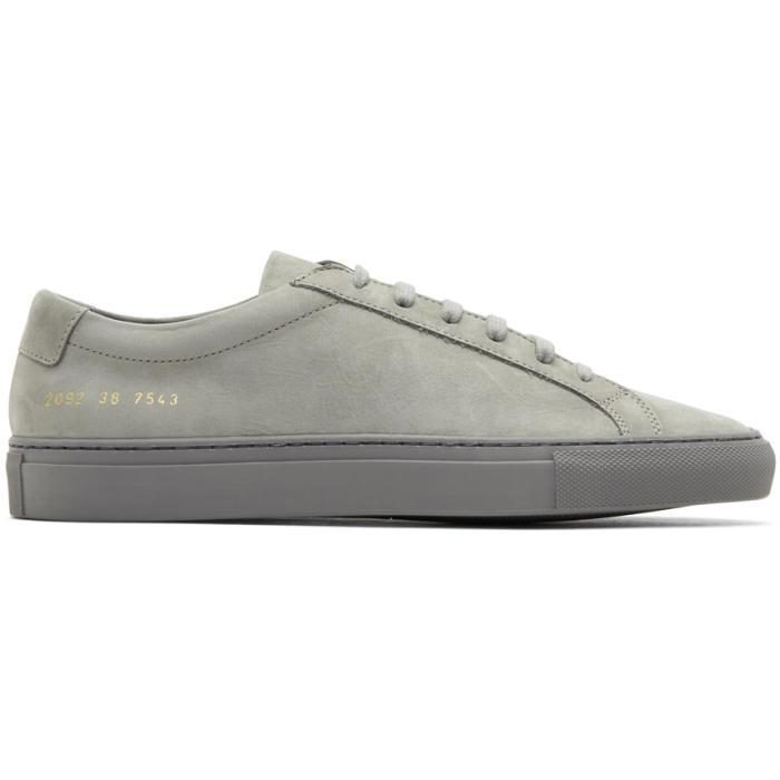 Common Projects Grey Nubuck Original Achilles Low Sneakers