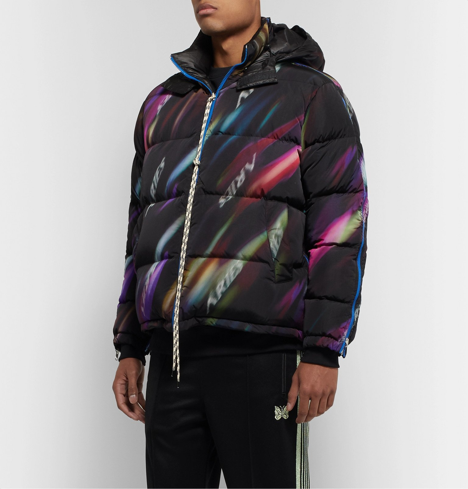 Aries - Reversible Quilted Printed Shell Hooded Down Jacket - Black