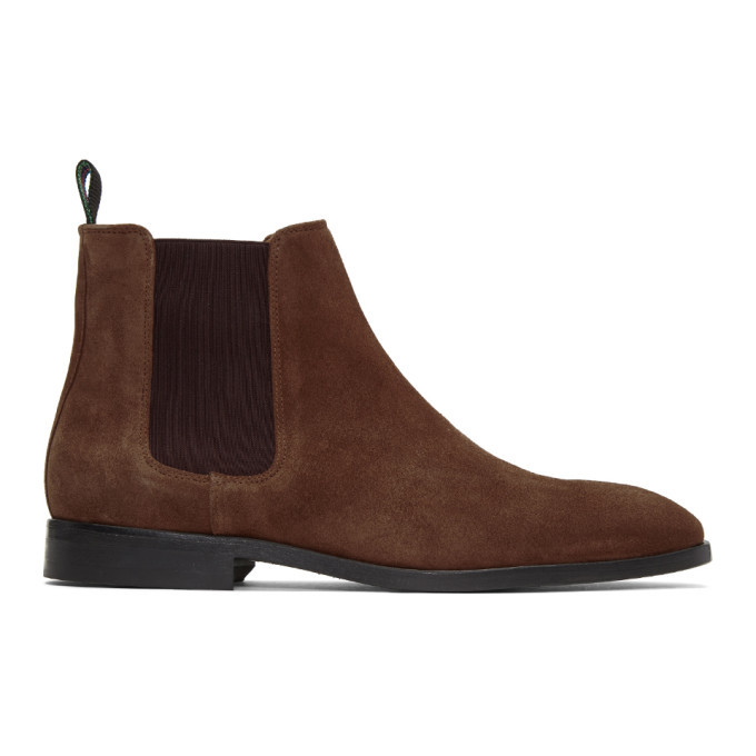 Photo: PS by Paul Smith Brown Suede Gerald Chelsea Boots