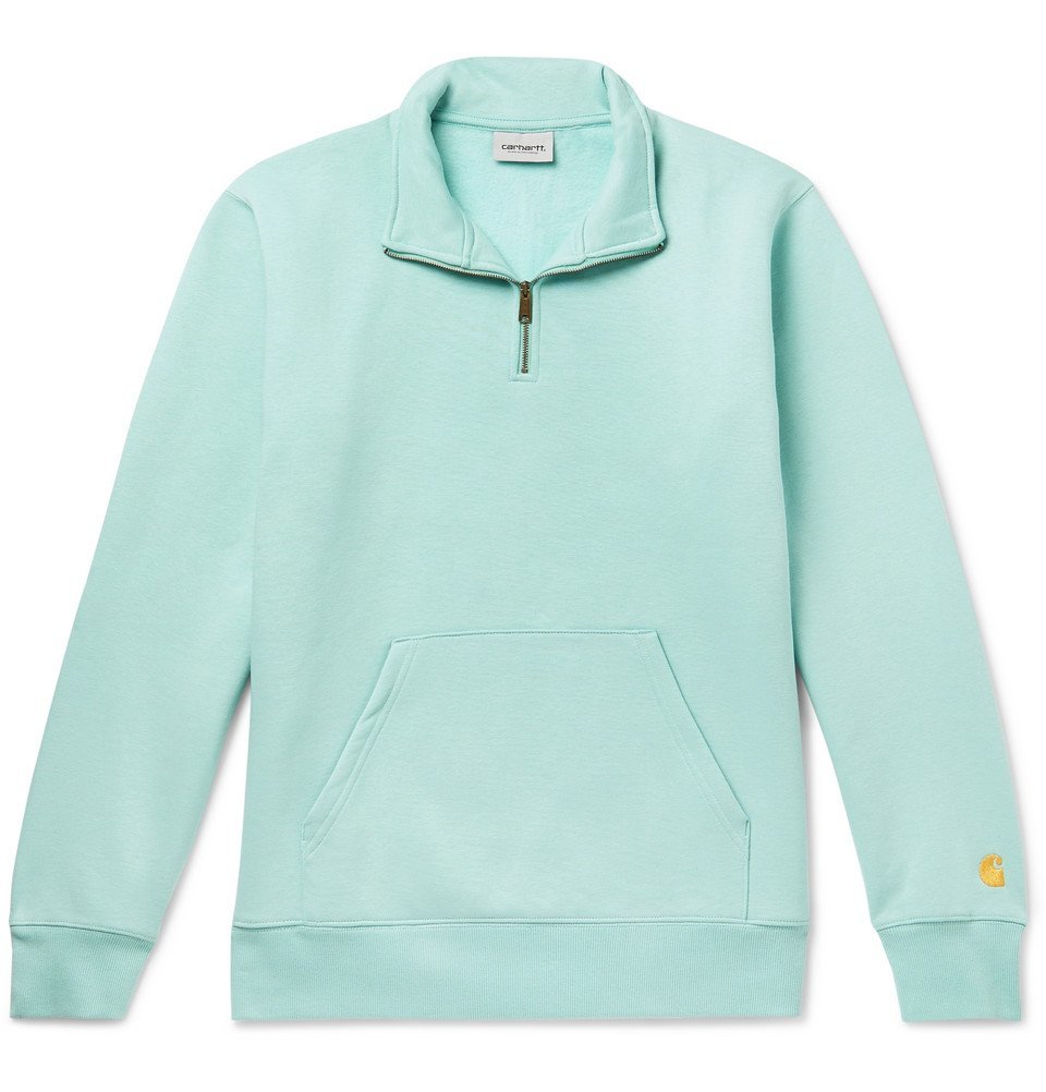 Photo: Carhartt WIP - Chase Fleece-Back Cotton-Blend Jersey Half-Zip Sweatshirt - Mint