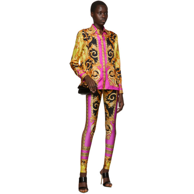 Versace Pink Baroque Leggings