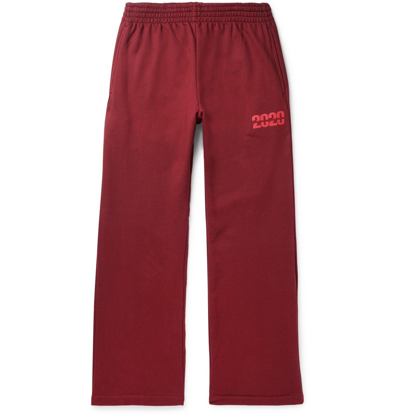 Martine Rose - Wide-Leg Logo-Print Loopback Cotton-Jersey Sweatpants - Red