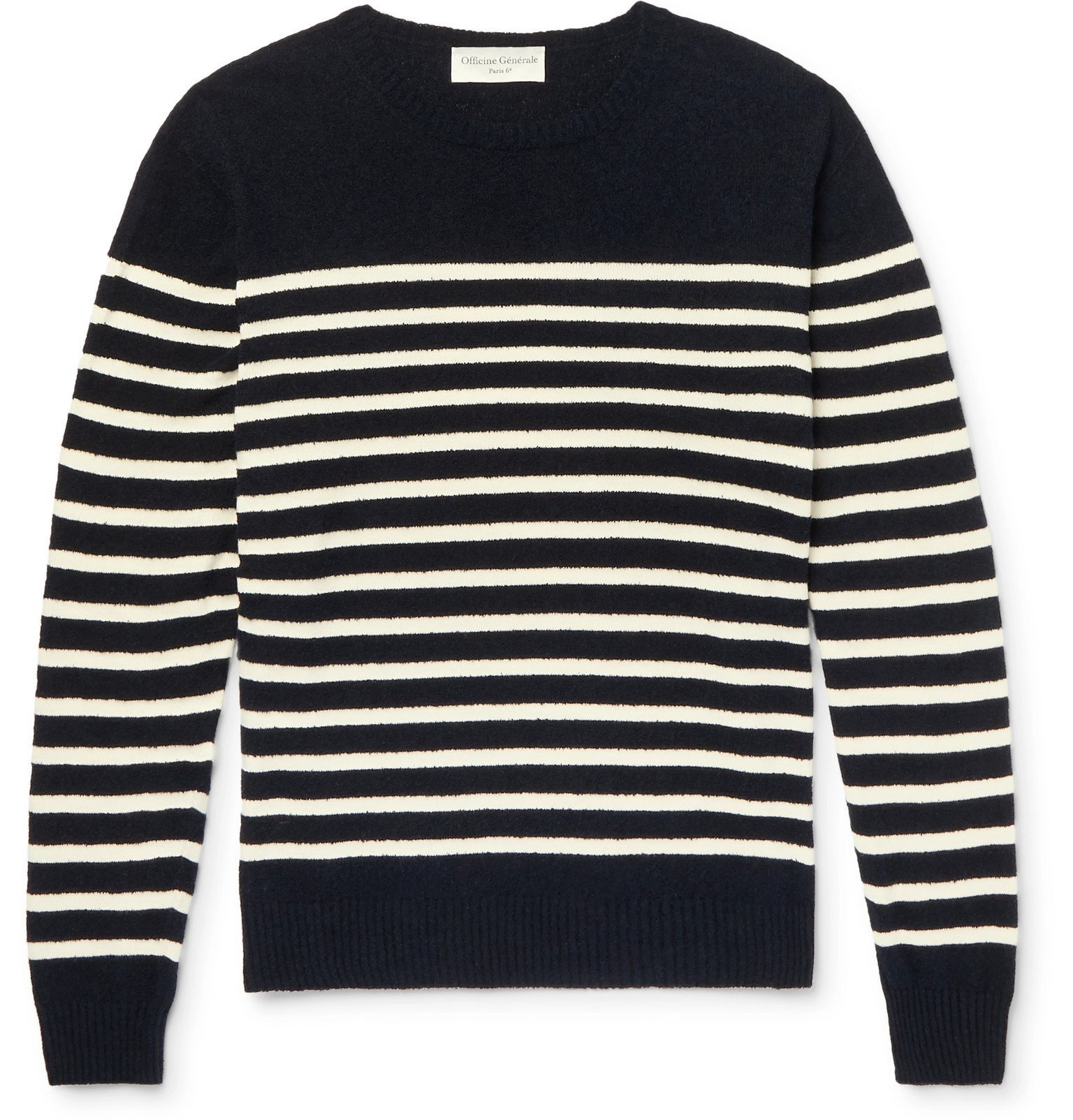 Photo: Officine Generale - Ansel Striped Textured-Cotton Sweater - Blue