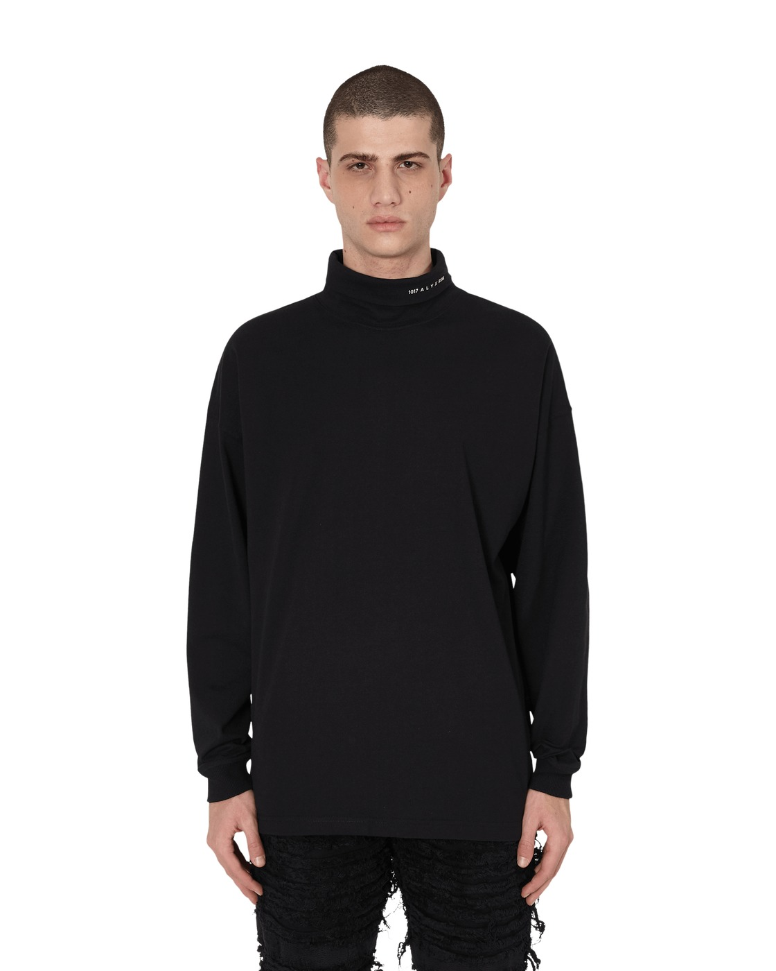 1017 Alyx 9sm Visual Roll Neck Long Sleeve T Shirt Black