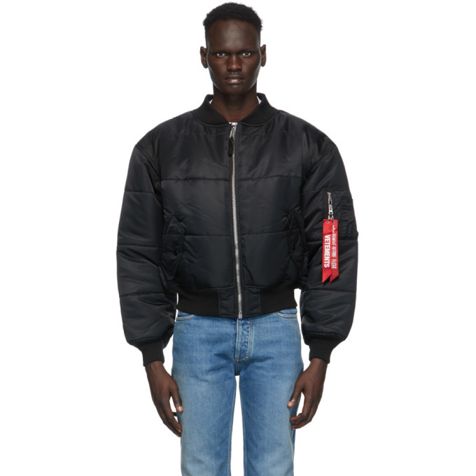 Photo: VETEMENTS Reversible Black and Navy Patch Bomber Jacket