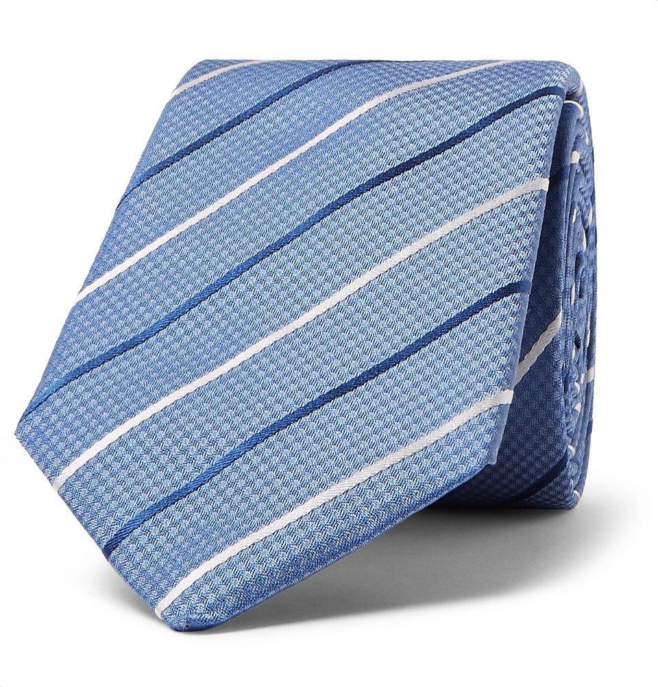 Photo: Hugo Boss - 7cm Striped Silk-Jacquard Tie - Blue